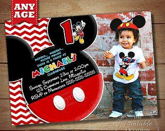 HUGE SELECTION Chevron Mickey Mouse Invitation, Mickey Birthday Invitation, Mickey Mouse Clubhouse, Photo Invitations, Mickey Printables