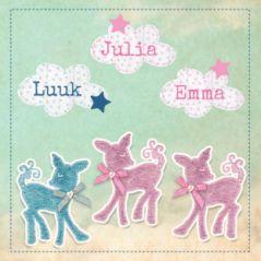 Geboortekaart drieling hertjes #geboortekaartje #zigzag #drieluik #vintage #herje #wolkjes # sterren #drie #zoontjes #dochtertjes #jongens #meisjes #oudroze #oudblauw #oudgroen