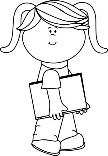 clip art black and white | Black and White Girl Walking with a Book Clip Art - Black and White ...