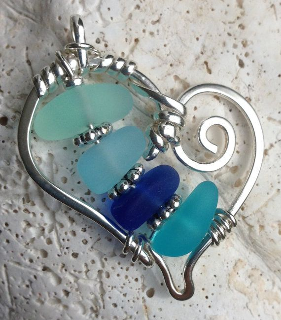 Heart of (beach) Glass :) ~~~~~~~~~~~~~~~~ each is One Of A Kind ~ Sunburst Glass and Sterling Silver  simplicity & uniqueness ~ wrapped into