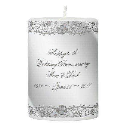 Flourish Diamond 60th Anniversary Pillar Candle