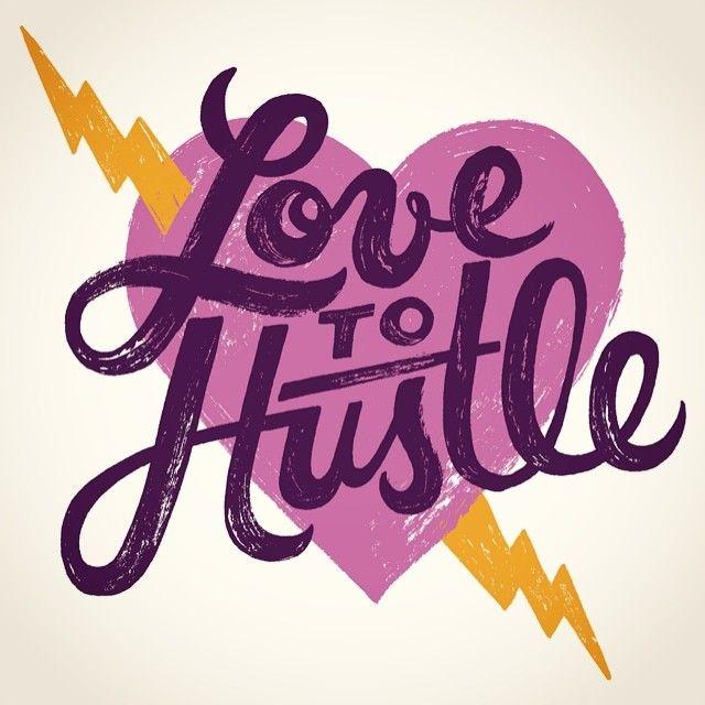 Love ot Hustle, hand lettering over purple hear with lightning bolt | Mary Kate McDevitt