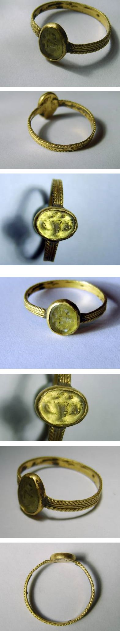 ROMAN GOLD RING SET WITH CHALCEDONY INTAGLIO, ca 2nd century A.D.