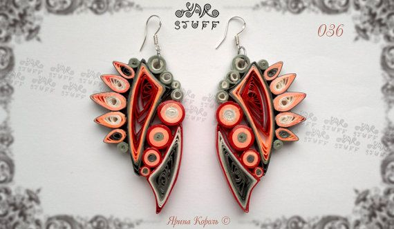 Quilled Paper Dangle Earrings                                                                                                                                                                                 Más