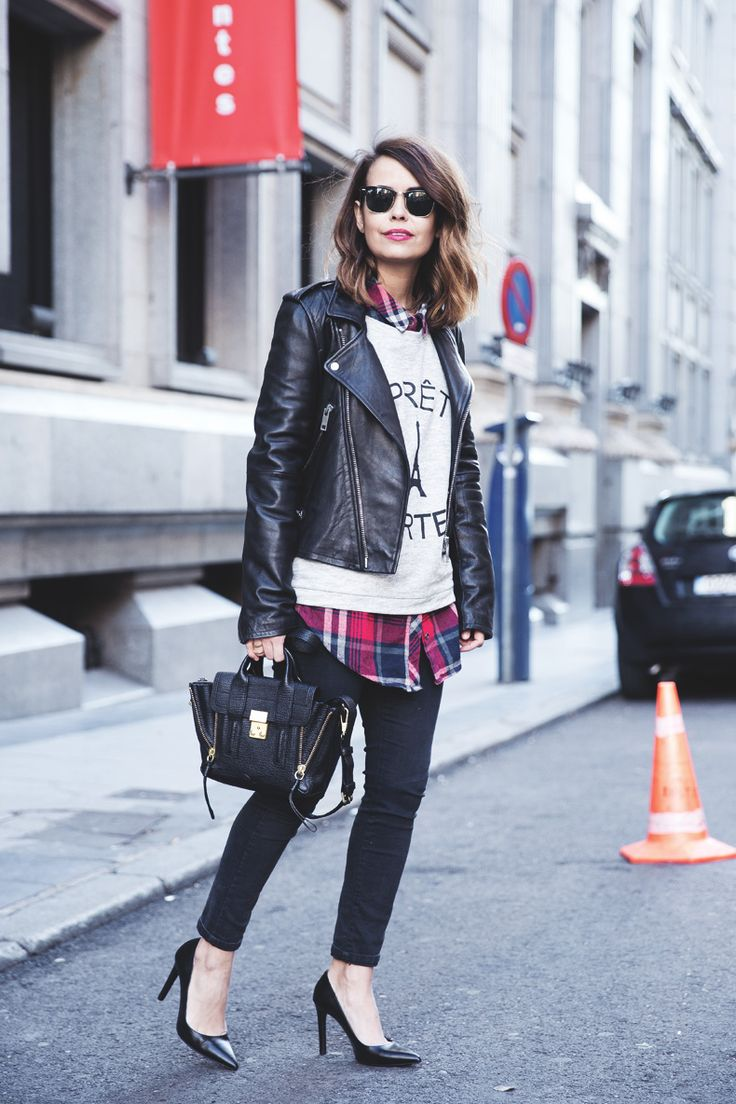 Winter outfit: black leather jacket plaid shirt grey sweater