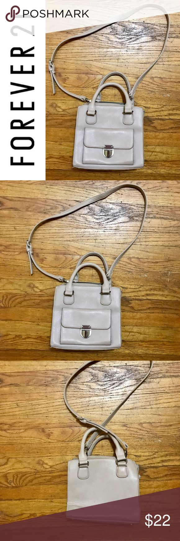Super Cute Vegan Leather Bag Super cute and clean bag from Forever 21. Cross body strap is removable and can be used satchel style. Pretty soft cement/pale beige colored bag. Goes with anything and everything!! Forever 21 Bags Satchels
