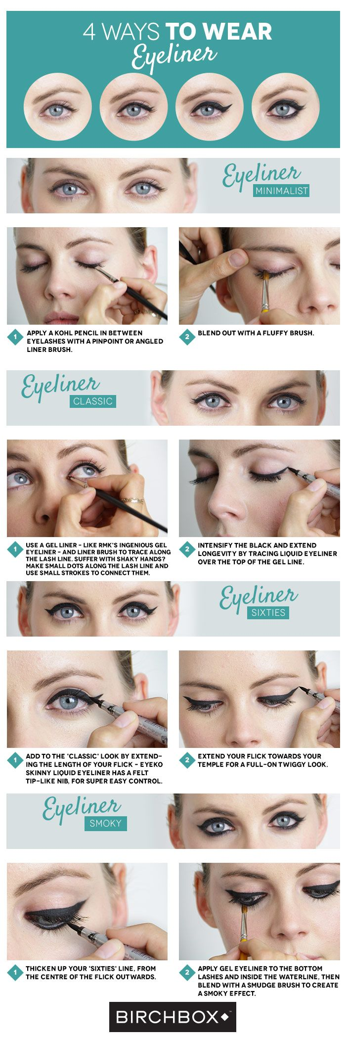 4 Ways To Wear Eyeliner - Eyeliner is one of our most treasured secret make-up weapons – you can obtain multiple looks with the right tools, from a chic feline flick to a sultry smoky eye. Birchbox France Editor Mathilde shared four top options with us – there's one for everyone...