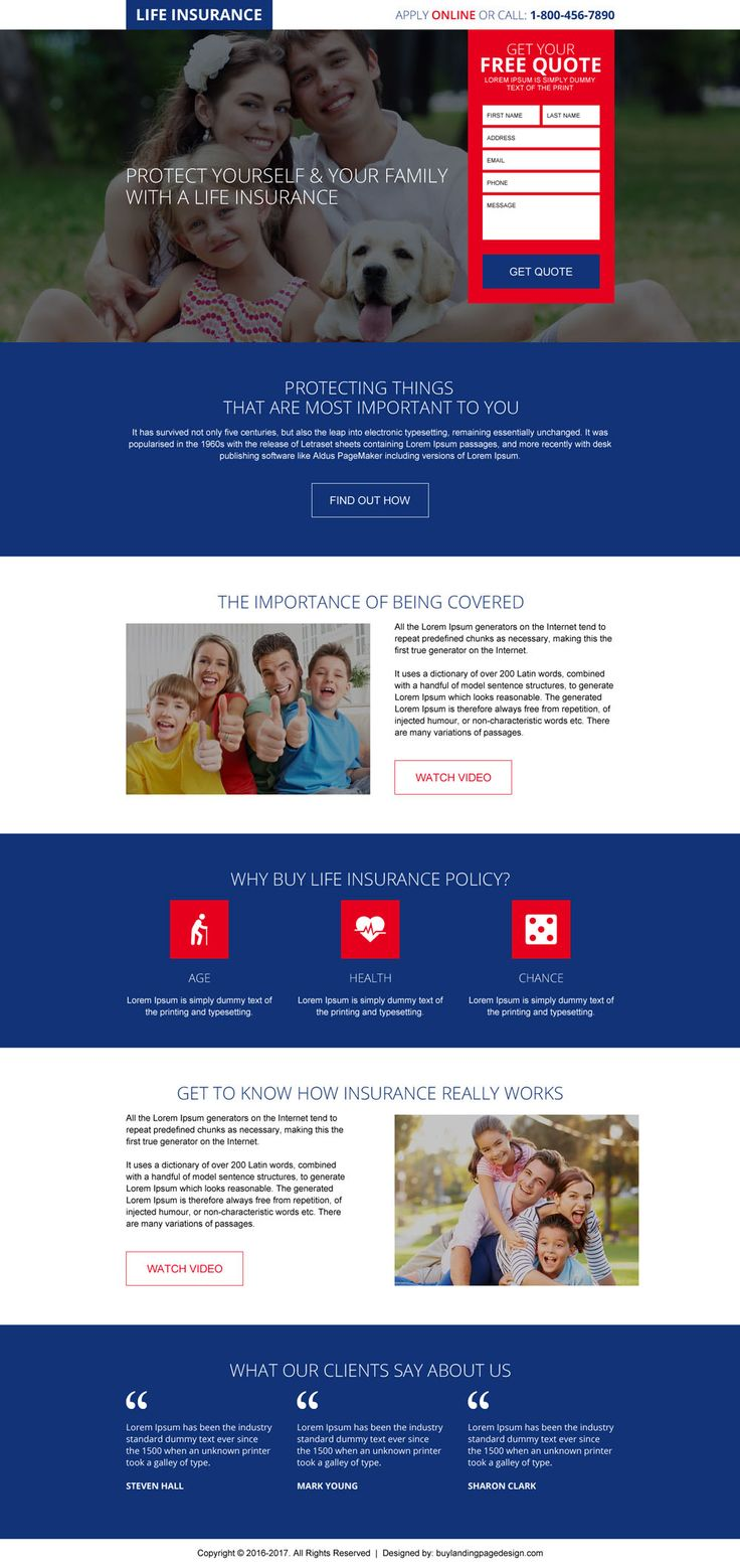 online free life insurance quote responsive landing page
