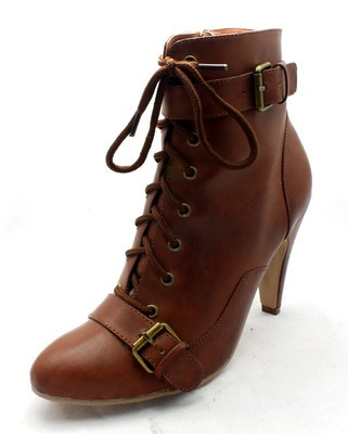 Ladies Tan brown buckle detail high heel ankle boots victorian style NEW