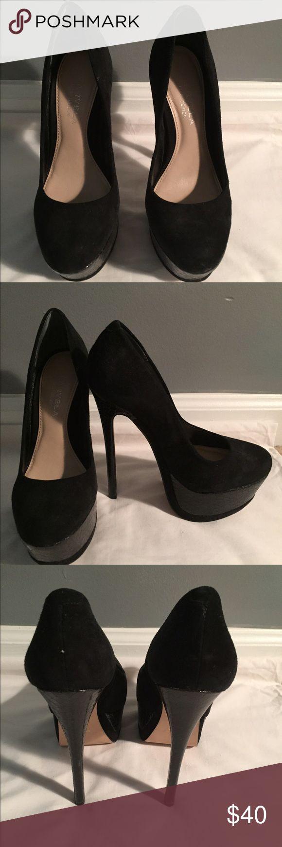 Black Suede Kurt Geiger carvela heels size 6 Black Suede pumps with patent detailing on platform and heel kurt geiger Shoes Heels