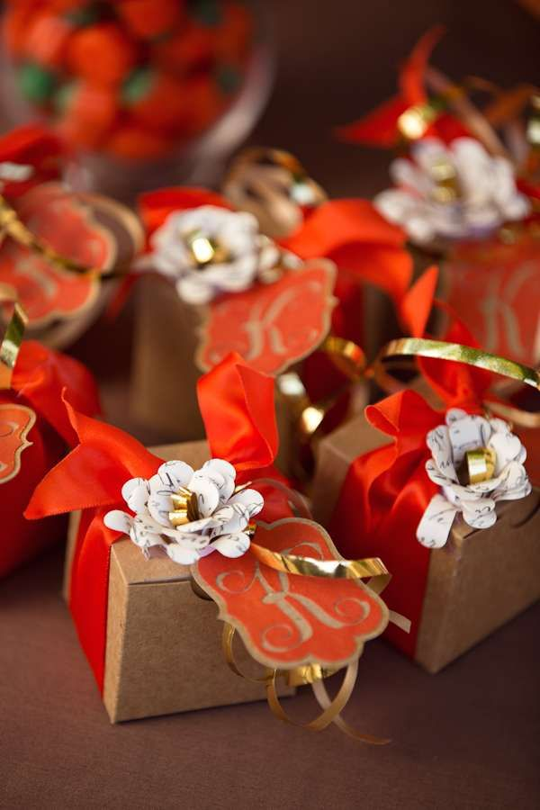 Monogrammed favors at a fall wedding party! See more party planning ideas at CatchMyParty.com!