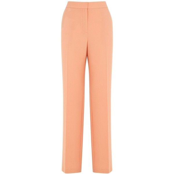 Warehouse Slim Leg Trousers ($61) ❤ liked on Polyvore featuring pants, peach, women, peach pants, red cigarette pants, red trousers, cigarette pants and cigarette trousers