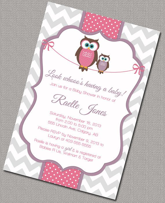 Owl Baby Shower Invitation, Baby Girl, Purple, Pink, Gray Chevron, Digital, Printable File (781) on Etsy, $15.00