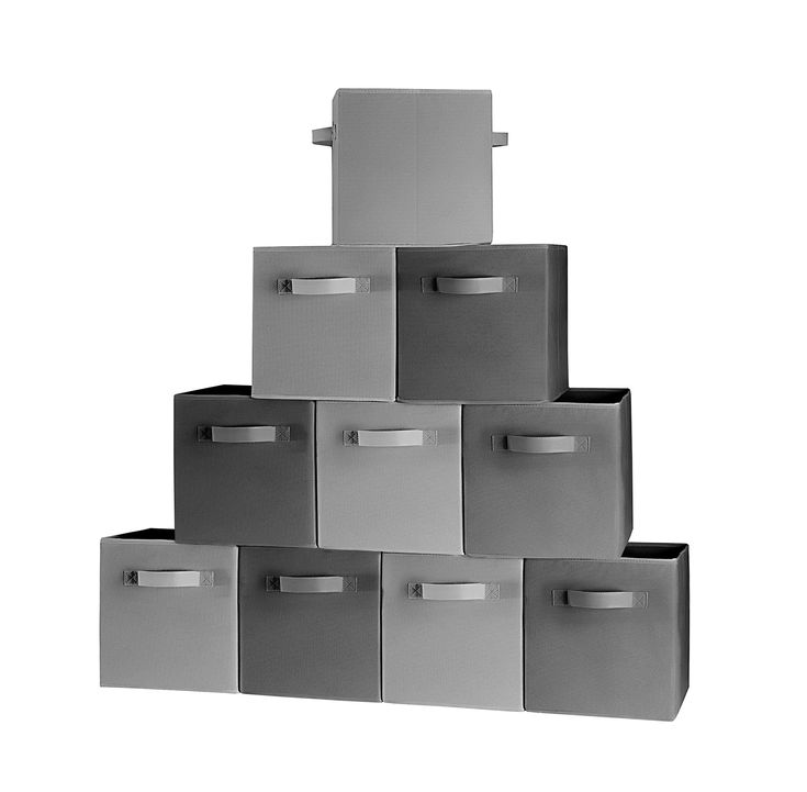 Storage Bins, Containers, Boxes, Tote, Baskets| Collapsible Storage Cubes For Household Organization | Foldable Jumbo Fabric & Cardboard| Dual Metal Handle | (5 Black, 5 Grey, 10)