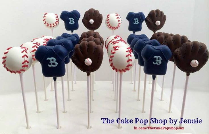 Baseball themed cake pops with baseball mits and shirts