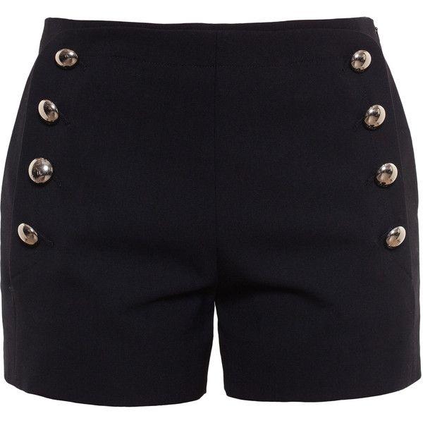 Chloé Sailor Shorts ($895) ❤ liked on Polyvore featuring shorts, bottoms, pants, short, black, chloe shorts, sailor shorts, nautical shorts and short shorts