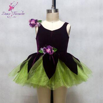 kinderen kinderen geëffend dans kostuum ballet tutu paarse elastische fluwelen lijfje met groene tule tutu jazz dans tutu jurken 15213