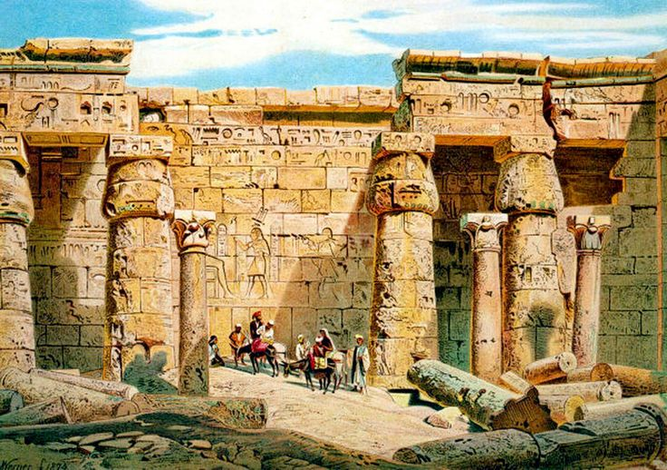 Madinat Habu Temple - Luxor  By Carl Werner - German ,1808 - 1894 Watercolor on paper