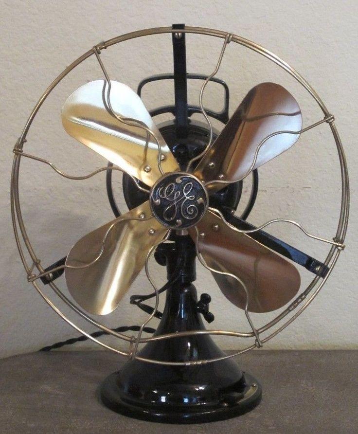 Vintage Ge Fan : Antique vintage ge star oscillator quot fan brass blades