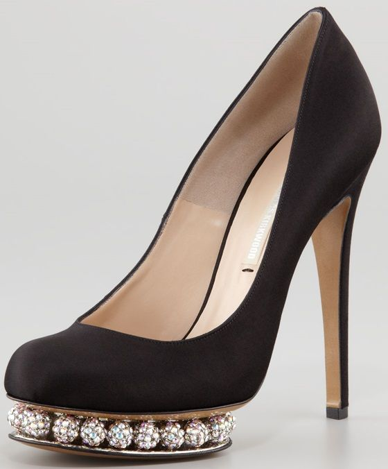 Crystal Nicholas Kirkwood Shoes | Nicholas Kirkwood Crystal-Platform Satin Pumps , $1,995