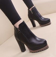 Nuevo cremallera de tacón alto botas mujer martin talón grueso zapatos de plataforma mujer botas de punta redonda(China (Mainland))