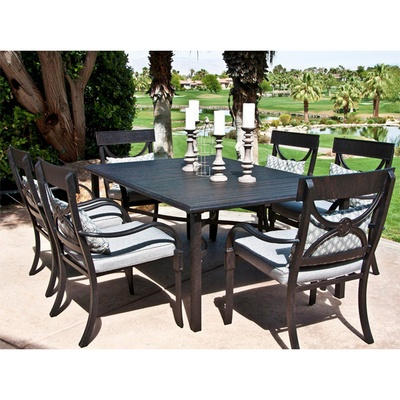 Cast Aluminum Outdoor Patio Dining Set With Classic Chairs Slat Topped Table