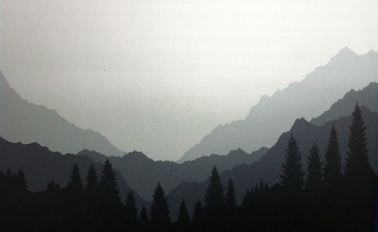 Something like this mural with mountains and trees but simplified and brighter