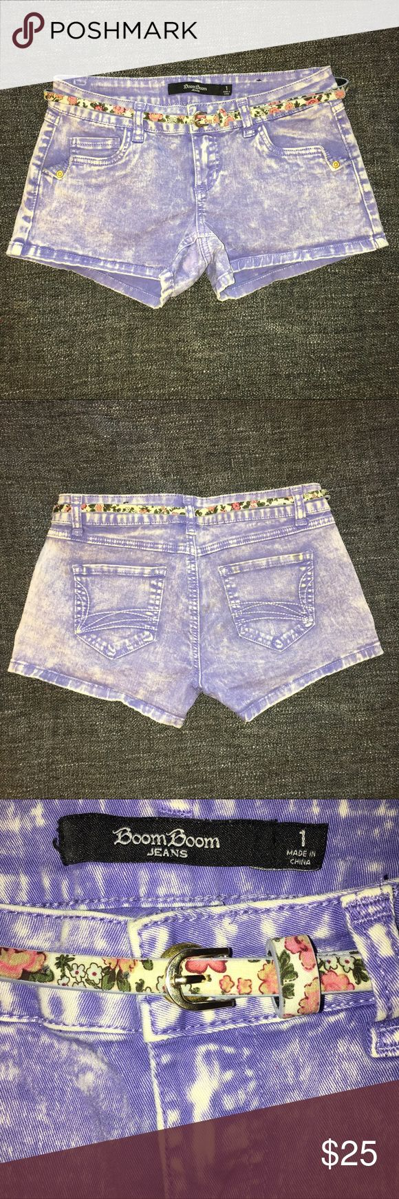 NWOT shorts with floral belt. ✨BRAND NEW✨                                                                            Super cute lavender jean shorts with floral printed belt. Pockets on side & back of shorts. In perfect condition; never worn. Boom Boom JEANS Shorts Jean Shorts