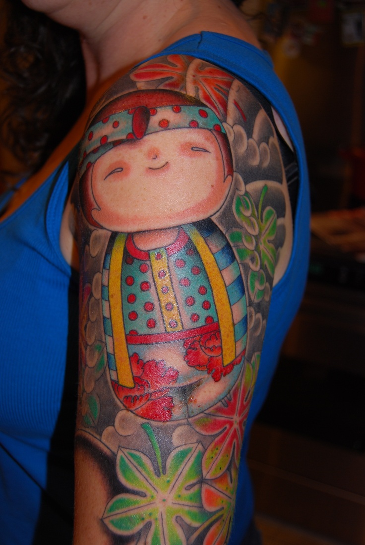 Kokeshi tattoo..love it especially as its on my arm!! Daniel Albrigo now at Three Kings Brooklyn NYC