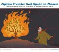 God Spoke to Moses Jigsaw Puzzle | Moses and the Burning Bush Picture Puzzle for Children