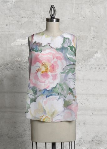 Wilde roses and gray background.This top, cut with a flattering A-line and a rounded asymmetric hem, will make you look and feel effortlessly beautiful - day or night. #top #women #fashion