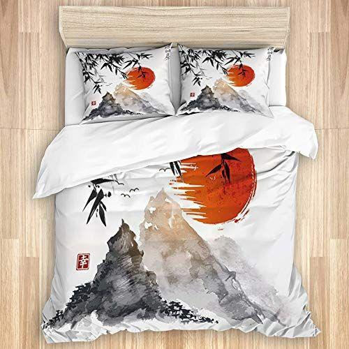 Mokale 3 Pieces Parure De Litmobambou Japonais Soleil Et Montagnes Peinture A L Encre Asiatique Imper En 2020 Housse De Couette Parure De Lit Housse De Couette 200x200