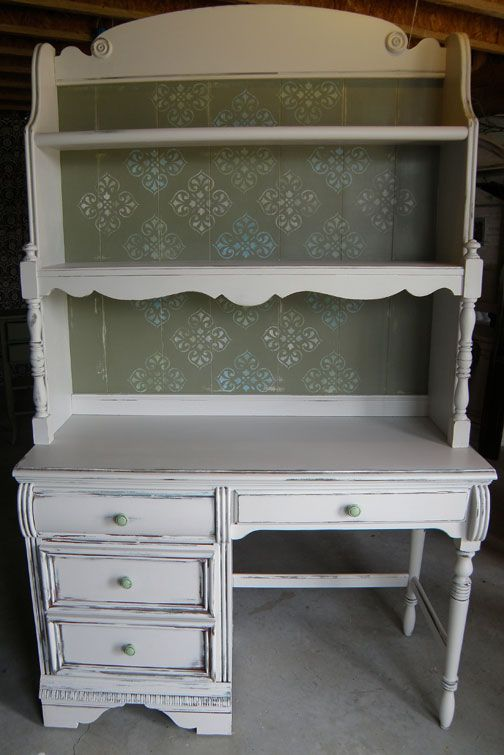 desk with hutch-after. Like the open top of the hutch. Want the desk the have drawers on both sides.