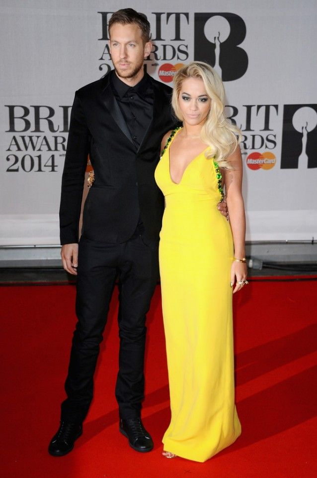 FASHION ON THE RED CARPET |The 2014 BRIT Awards. Di2d. Calvin Harris & Rita Ora