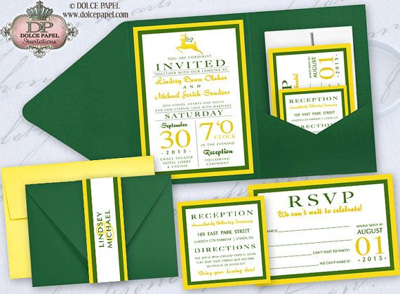 Yellow And Green John Deere Inspired Pocket Wedding Invitations Set 5x7 By DolcePapel