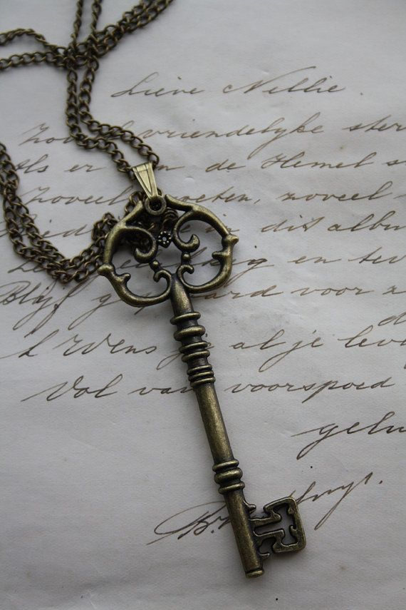 Steampunk necklace with key pendant  key necklace  by poppenkraal, $15.00