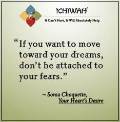 If you want to move toward your dreams, don't be attached to your fears.  – Sonia Choquette, Your Heart's Desire