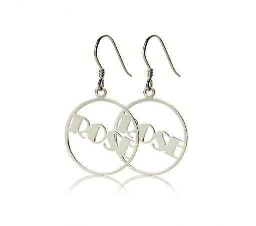 Broadway Script Hoop Name Earrings in Sterling Silver 925