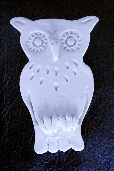 ... aus unglasiertem Porzellan mit Reliefprägung. Die Porzellan - Schnee - Eule ist auf der Rückseite mit einem Bilderaufhänger versehen.
