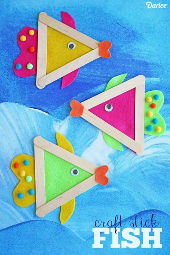 Popsicle stick fish craft for kids. Summer craft