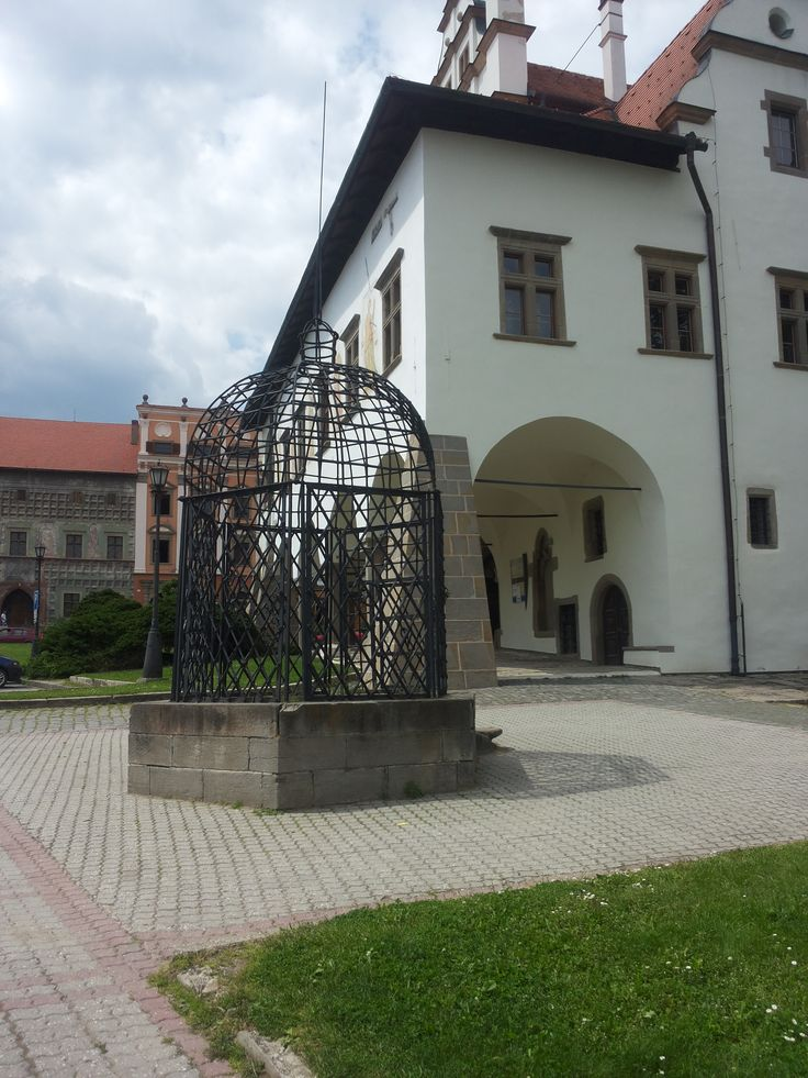 """Cage of Shame"", punishment cage outside the old Town Hall, Levoča, Slovakia"
