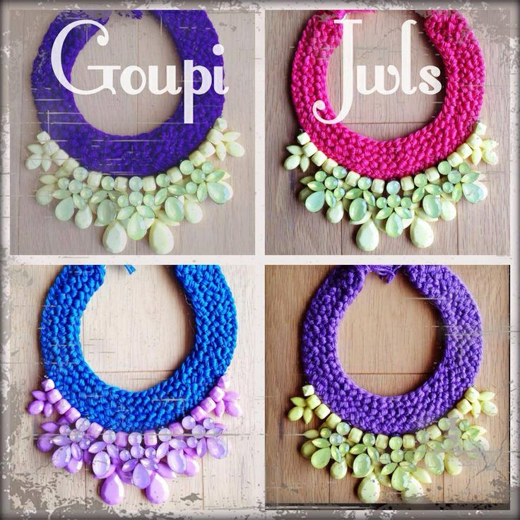 Handmade statement necklaces with absolute summer colors. Purple, lemon yellow, electric blue, watermelon color