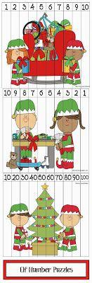 Classroom Freebies: Elf Number Puzzles