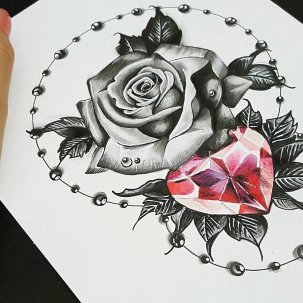 work out pukink blackandgrey rose realistic diamond