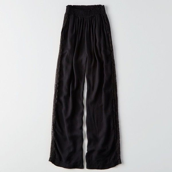 Don't Ask Why Lace-Inset Wide Leg Pant ($40) ❤ liked on Polyvore featuring pants, black, relaxed fit pants, viscose pants, wide leg trousers, wide-leg pants and american eagle outfitters pants
