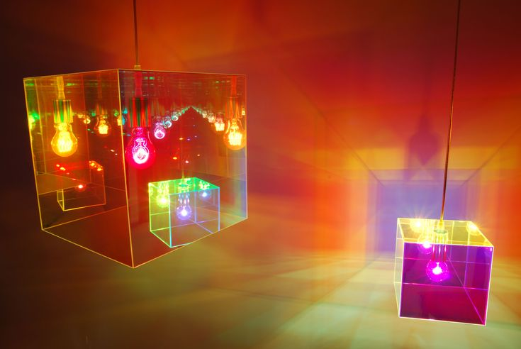 Cube miroir Suspension by Designheure   This suspension (15,6 x 15,6 cm) is composed of an acrylic cube shade, a transparent plastic cord of 2 m and a steel chrome hook fastening. The cube is coated with a mirror film which gives a perspective effect multiplied to infinity when light is on. Color vision changes as the light and viewing angle. Play with the illusion of perspective, optical effect.: Colors Vision, Cubes Shades, Chrome Hooks, Acrylics Cubes, Miroir Suspension, Cubes Miroir, Mirror Film, Suspen Cubes, Plastic Cords