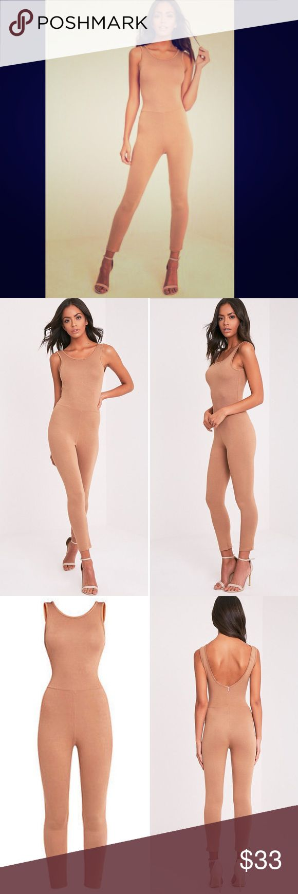 PLT Camel Scoop Back Fitted Cropped Leg Jumpsuit PLT Camel Scoop Back Fitted Cropped Leg Jumpsuit NWT US Size 8 Fitted scoop back with zip and cropped leg jumpsuit that you can dress-up or down! ♦Model wears size UK 8/ AU 8/ US 4 Pretty Little Thing UK Pants Jumpsuits & Rompers