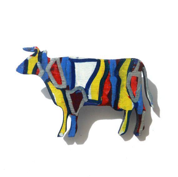 Cow Brooch, Cattle Art, Farm Animal Art, Art Brooch, Animal, Bovine, Wood Brooch, Hand Painted, Abstract Art, Original Art, Painting Of Cows #Original #Larryware #Art #Brooch #Jewelry #Handmade