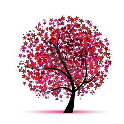 Fantasía de árbol estrellado para el diseño Pink tree fantasy fantasía árbol Rosa arbre rosa rosado estrellas estrellado estrellat