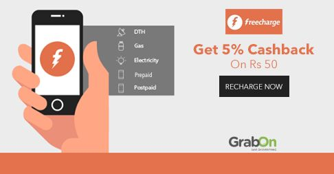 #FreeCharge Special Valentine's Offer For Lovers! Get 5% #Cashback On Rs 50. http://www.grabon.in/freecharge-coupons/  #SaveOnGrabOn